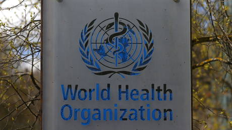 A logo of the World Health Organization (WHO) outside its headquarters in Geneva, Switzerland, April 6, 2021.