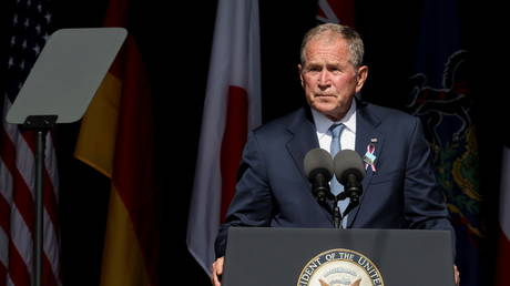 George W. Bush speaks during an event commemorating 20th anniversary of the September 11, 2001 in Pennsylvania