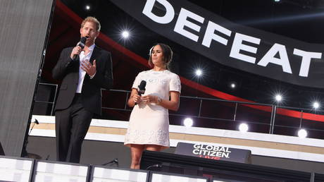 Prince Harry and Meghan Markle speak at the 2021 Global Citizen Live concert in New York. ©REUTERS / Caitlin Ochs