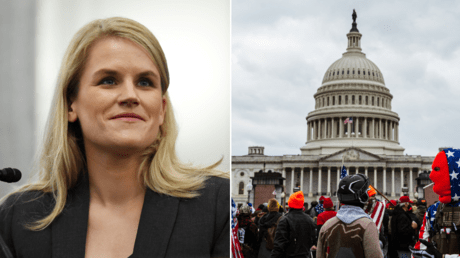 (L) Former Facebook employee and whistleblower Frances Haugen. © Reuters / Matt McClain; (R) Pro-Trump protesters gather in front of the U.S. Capitol Building on January 6, 2021 in Washington, DC. © AFP / JON CHERRY
