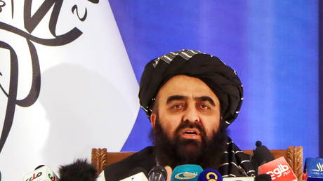 Taliban acting Foreign Minister Amir Khan Muttaqi is shown speaking at a press conference last month in Kabul.