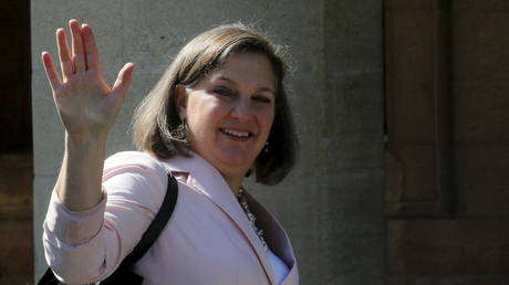FILE PHOTO: Victoria Nuland waves as she arrives at the Presidential Palace in Nicosia, Cyprus, April 20, 2016 © Reuters / Yiannis Kourtoglou