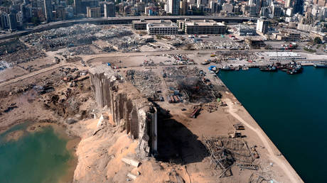 FILE PHOTO: A still image taken from a drone footage shows the damage two days after an explosion in Beirut's port area, Lebanon August 6, 2020. © Reuters / Reuters TV