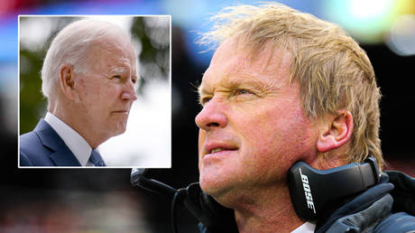 Jon Gruden (right) has resigned from the Las Vegas Raiders after emails that included a slur against Joe Biden © Evelyn Hockstein / Reuters   © Jay Biggerstaff / USA Today Sports via Reuters
