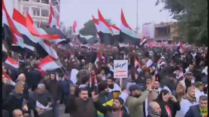 Mass demonstrations in Baghdad calling for an end to the presence of US forces in Iraq