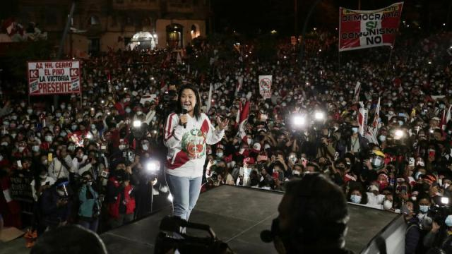 Peru's presidential candidate Keiko Fujimori addresses supporters in Lima, Peru on June 19, 2021.