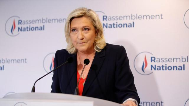 French far-right National Rally (Rassemblement National) party leader Marine Le Pen delivers a speech in reaction to the outcomes of the second round of French regional and departmental elections in France on June 27, 2021.