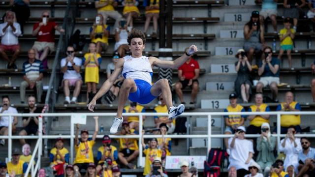 Sweden's Armand Duplantis competes in the men's final pole vault event during the Diamond League Track and Field meeting in Stockholm, on July 4, 2021.