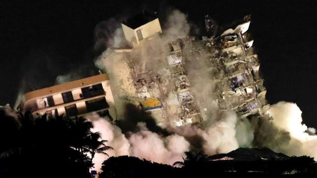 The partially collapsed Champlain Towers South residential building is demolished in Surfside, Florida, US, on July 4, 2021.