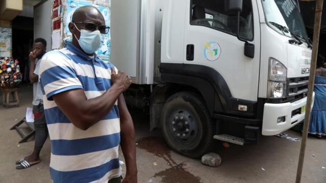A man leaves a Covid-19 mobile vaccination truck after receiving his jab in Abidjan, Ivory Coast July 5, 2021.