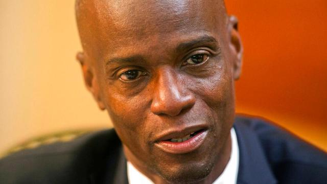 In this February 7, 2020, file photo, Haiti's President Jovenel Moise speaks during an interview at his home in Petion-Ville, a suburb of Port-au-Prince, Haiti.