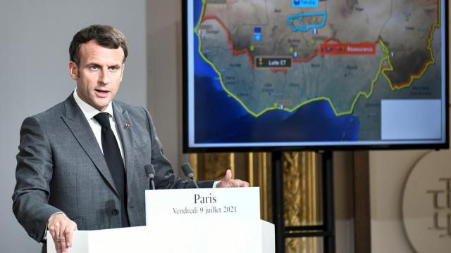France will soon begin reshaping its military presence in the Sahel region of West Africa, and will ultimately halve it, Macron says.