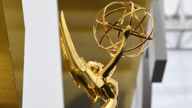 In this file photo an Emmy statuette is seen on the red carpet at the Microsoft Theatre in Los Angeles on September 22, 2019.