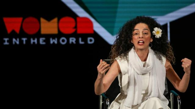 Masih Alinejad, Iranian journalist and women's rights activist, speaks on stage at the Women In The World Summit in New York, US, April 12, 2019