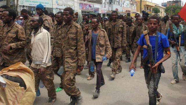 Ethiopian government soldiers and prisoners of war in military uniforms walk through the streets of Mekelle, the capital of Tigray region, Ethiopia July 2, 2021. Picture taken on July 2, 2021.