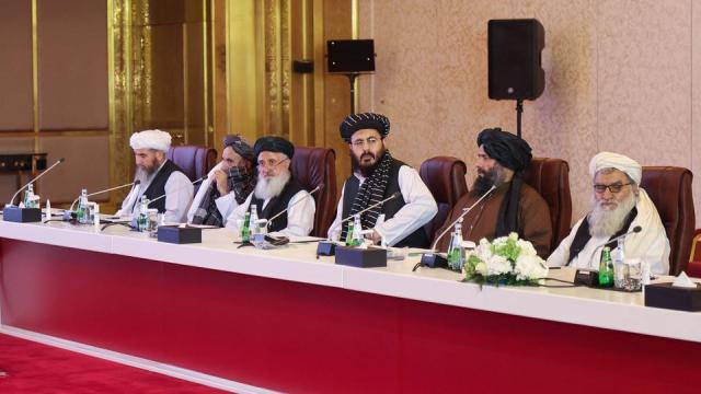 A delegation of Afghanistan's Taliban movement attends a session of peace talks between Afghan government and the Taliban in Doha, on July 17, 2021.