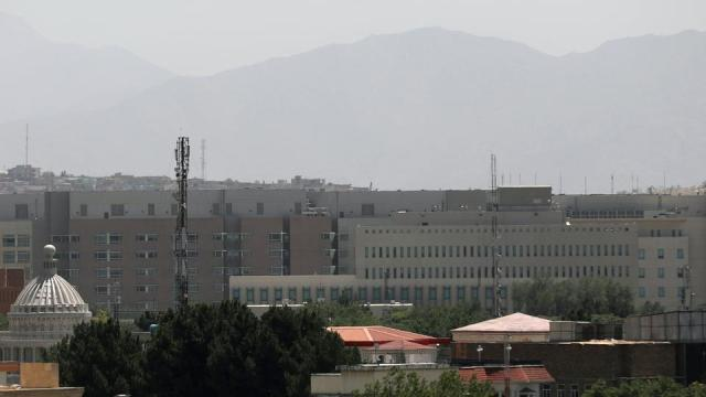 The US Embassy buildings, centre, are seen in Kabul, Afghanistan, August 14, 2021.