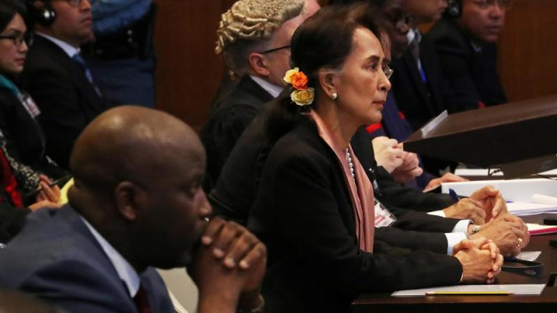 Gambia's Justice Minister Abubacarr Tambadou and Myanmar's leader Aung San Suu Kyi attend a hearing in a case filed by Gambia against Myanmar alleging genocide against the minority Muslim Rohingya population, at the International Court of Justice (ICJ) in The Hague, Netherlands December 10, 2019.