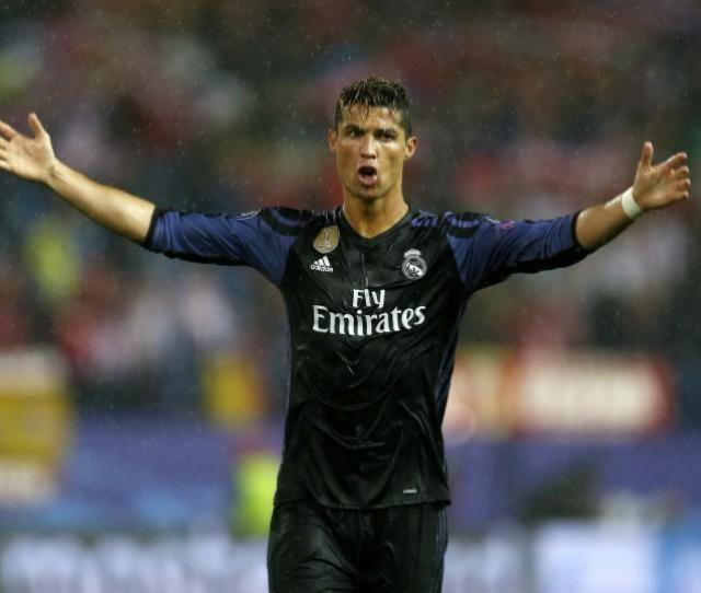 Real Madrids Cristiano Ronaldo Gestures To The Crowd After The Champions League Semi Final Between