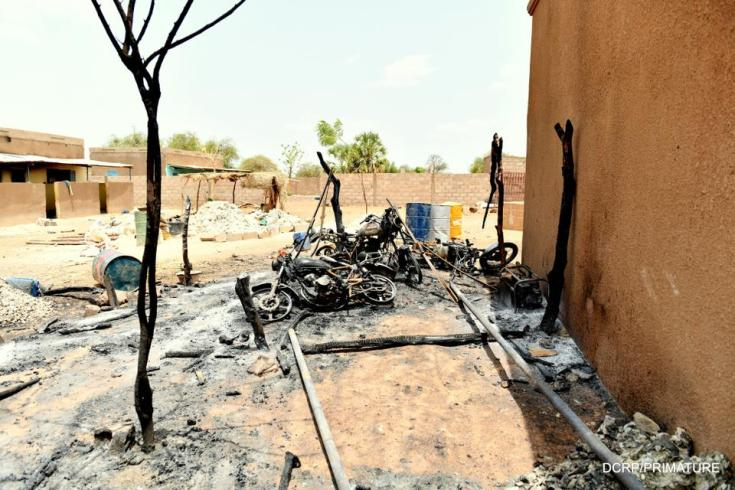 A view shows the damage at the site of an attack in the village of Solhan, in Yagha province bordering Niger, Burkina Faso June 7, 2021.