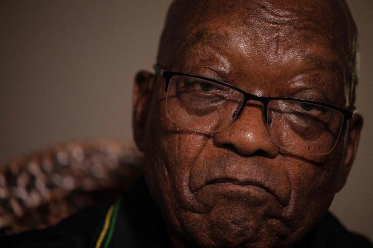 Former South African president Jacob Zuma addresses the media in his home in Nkandla, KwaZulu-Natal on July 4, 2021.