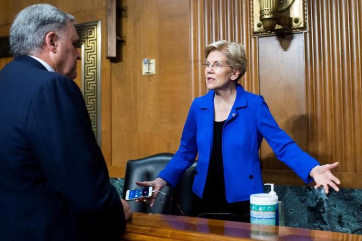 US Senator Elizabeth Warren during the Senate Finance Committee hearing in Washington DC, US, June 8, 2021