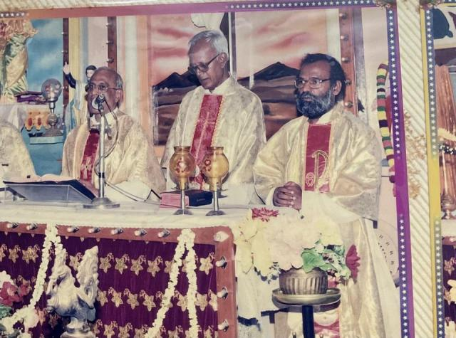 Photo of Father Stan Swamy (centre) from a family album. The Jesuit priest was India's oldest prisoner charged under the UAPA for his role in what the counter-terrorist task force NIA contends was an alleged Maoist conspiracy that led to caste clashes near the Bhima Koregaon village four years ago.