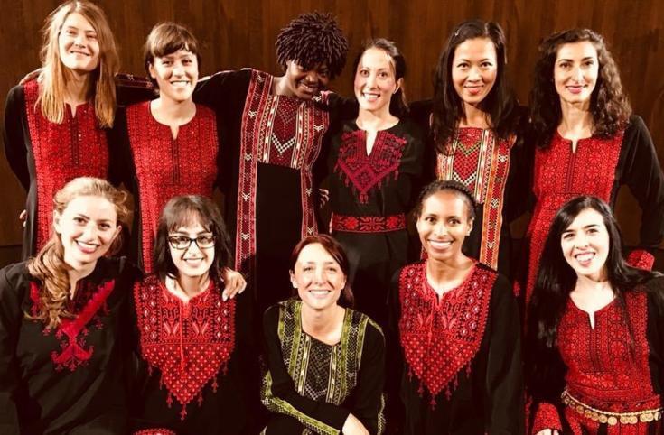 Members of dance troupe. Hawiyya run dabke workshops all over the world.