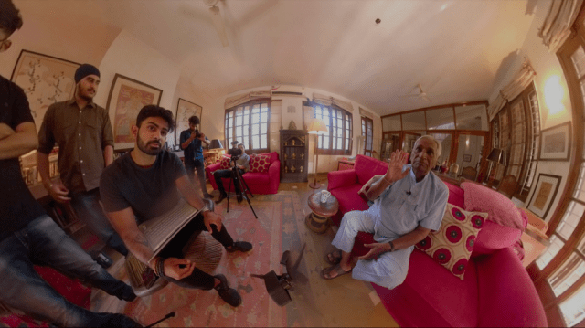 Sparsh Ahuja with his grandfather Ishar Das Arora as he readies to experience his ancestral village through VR.