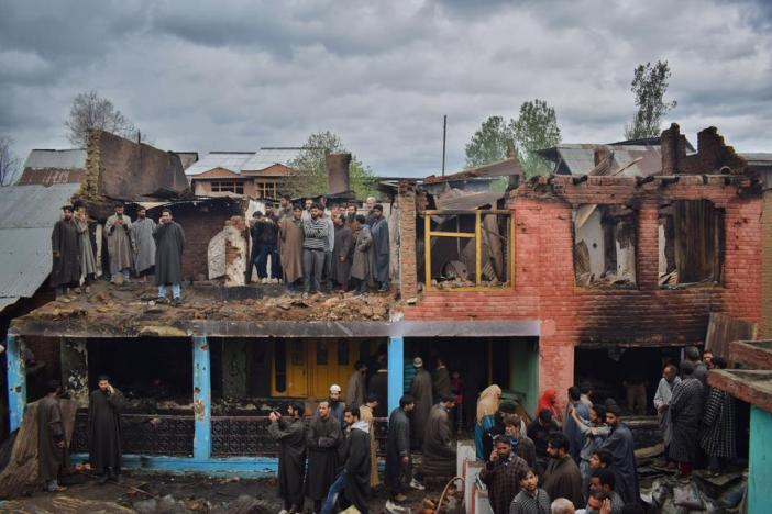 Three houses were burnt down in south Kashmir's Khudwani village in April this year. Four civilians were also shot dead.