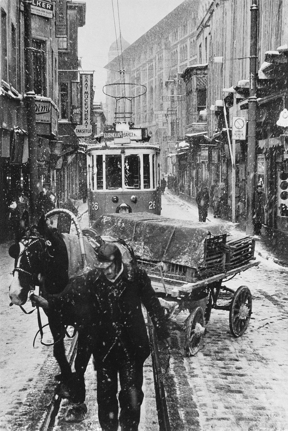 A horse cart and a tram in Sirkeci on a winter's day, 1956.