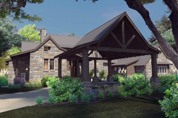 Country Craftsman Farmhouse Tudor House Plan 75136
