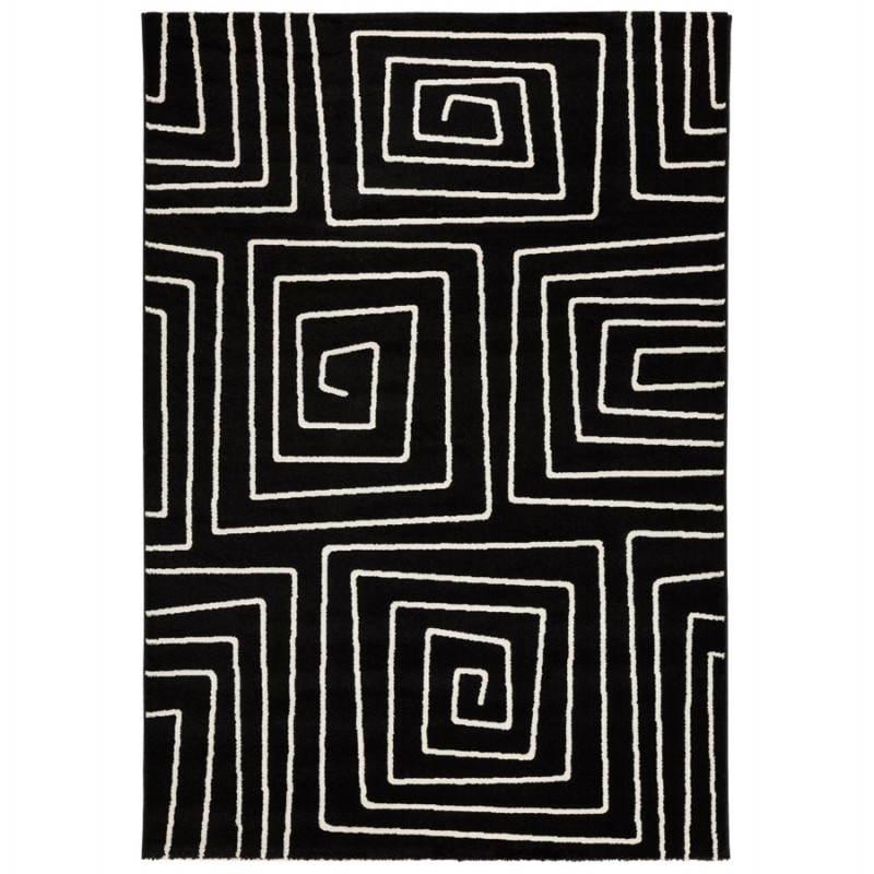 tapis contemporain et design rafy rectangulaire 160 x 230 noir blanc tapis rectangulaire
