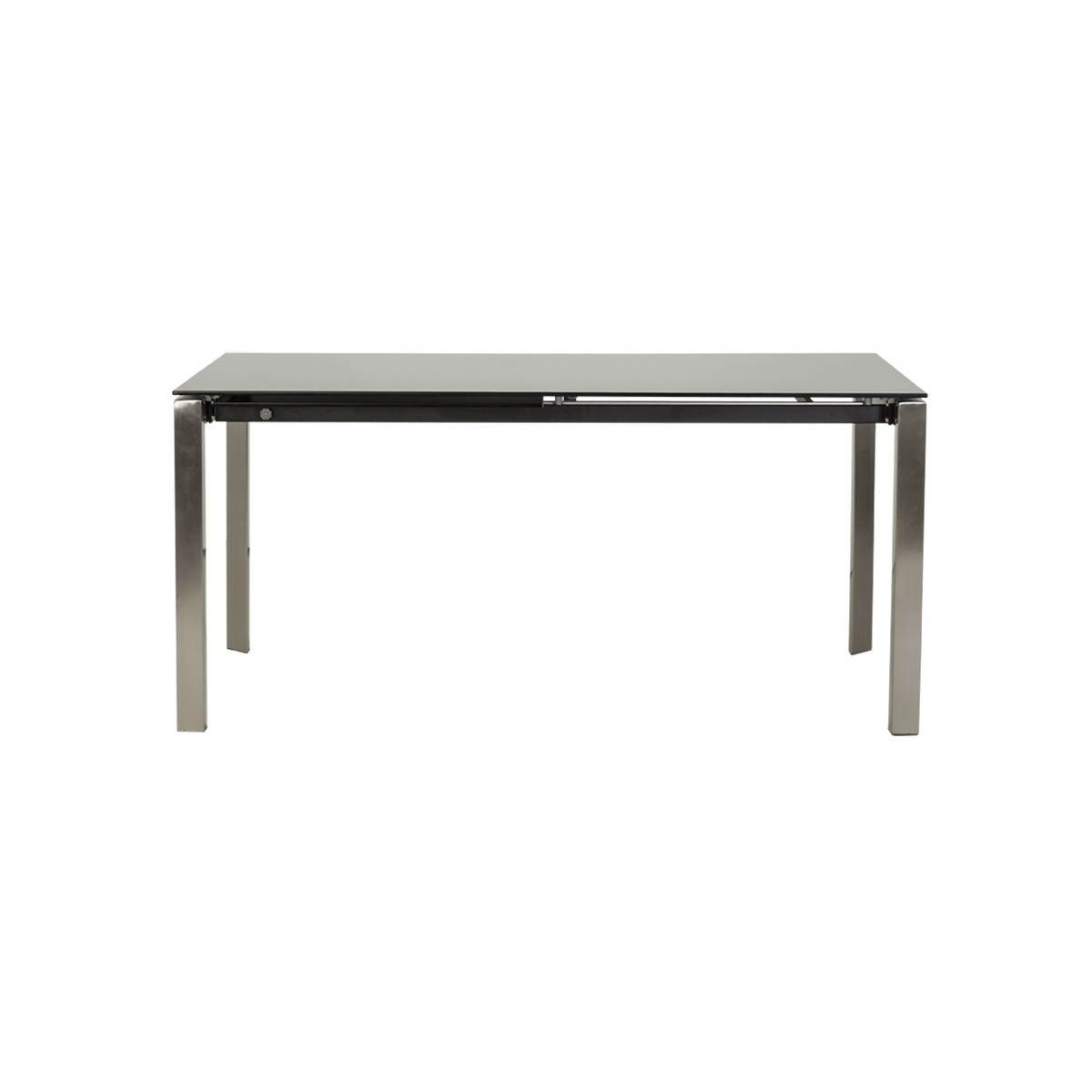 design table rectangular extension mona tempered glass and stainless steel black amp story 3485