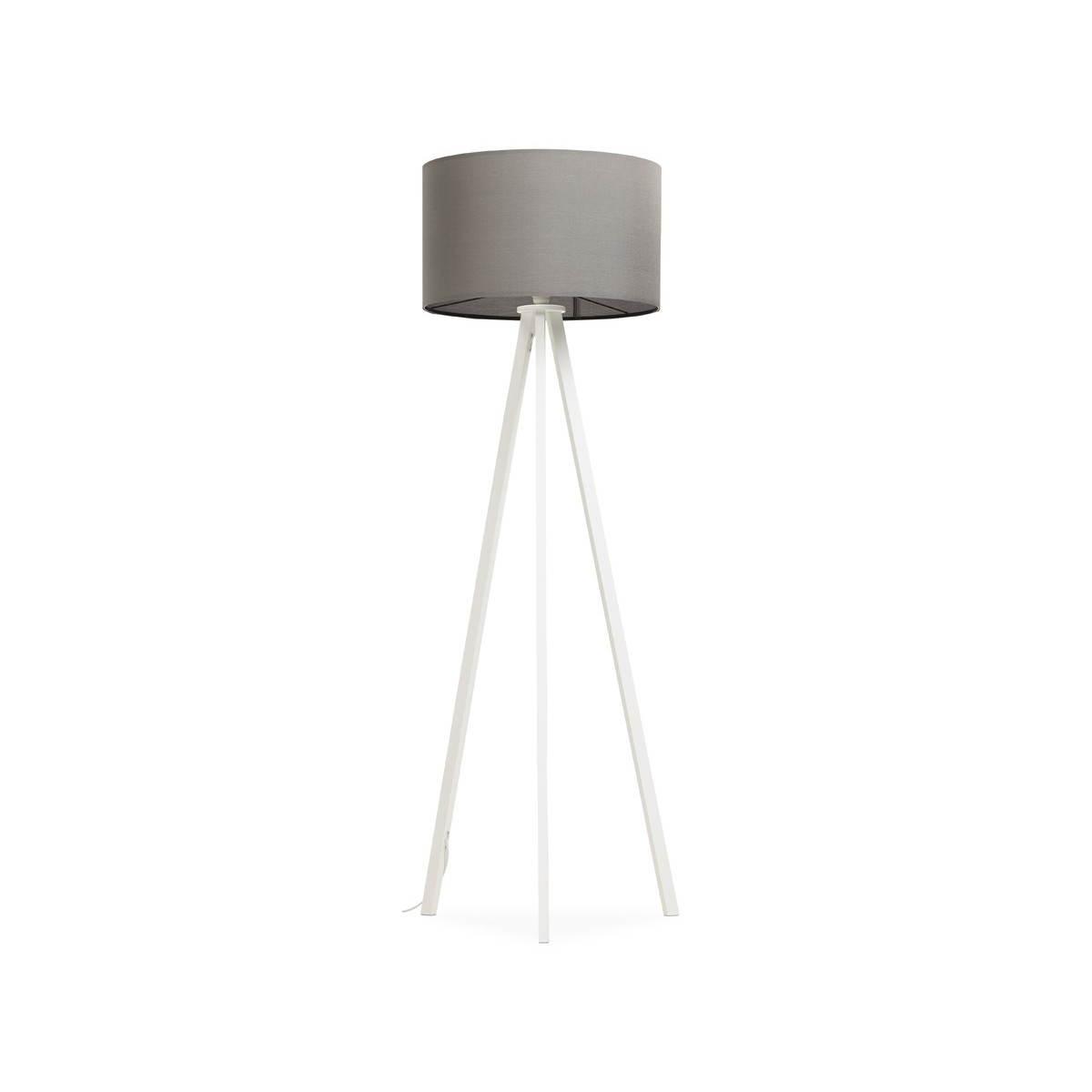 lampe sur pied de style scandinave trani en tissu gris blanc amp story 3595