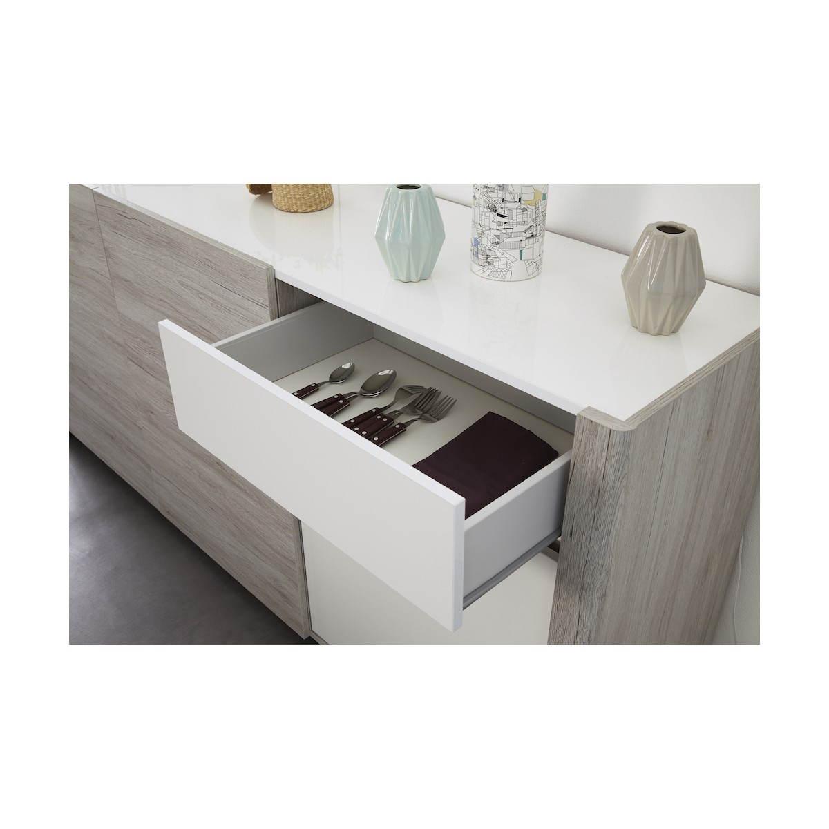 buffet runde 3 turen design chaillot dekor eiche hellgrau weiss hochglanz amp story 3907