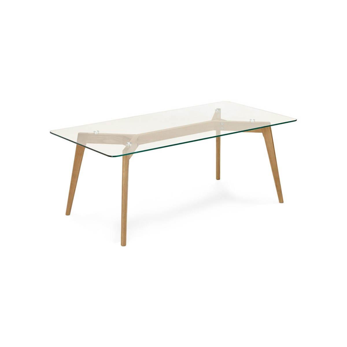 table basse rectangulaire style scandinave henna en verre et chene transparent amp story 3988