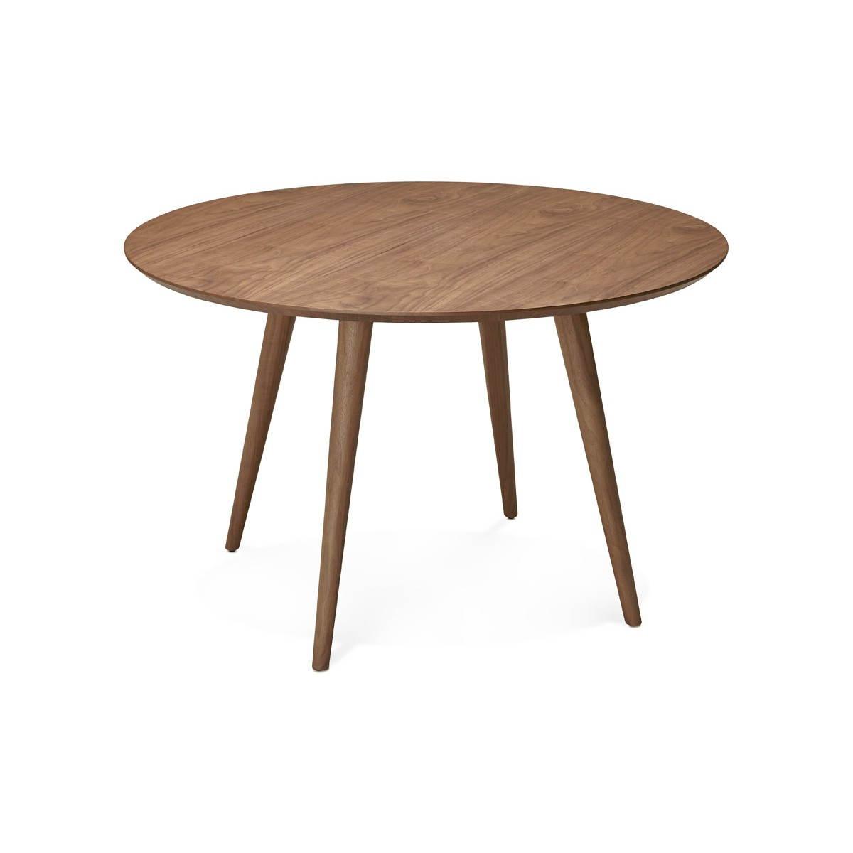table de repas ronde vintage style scandinave sofia en bois o 120 cm finition noyer amp story 3994