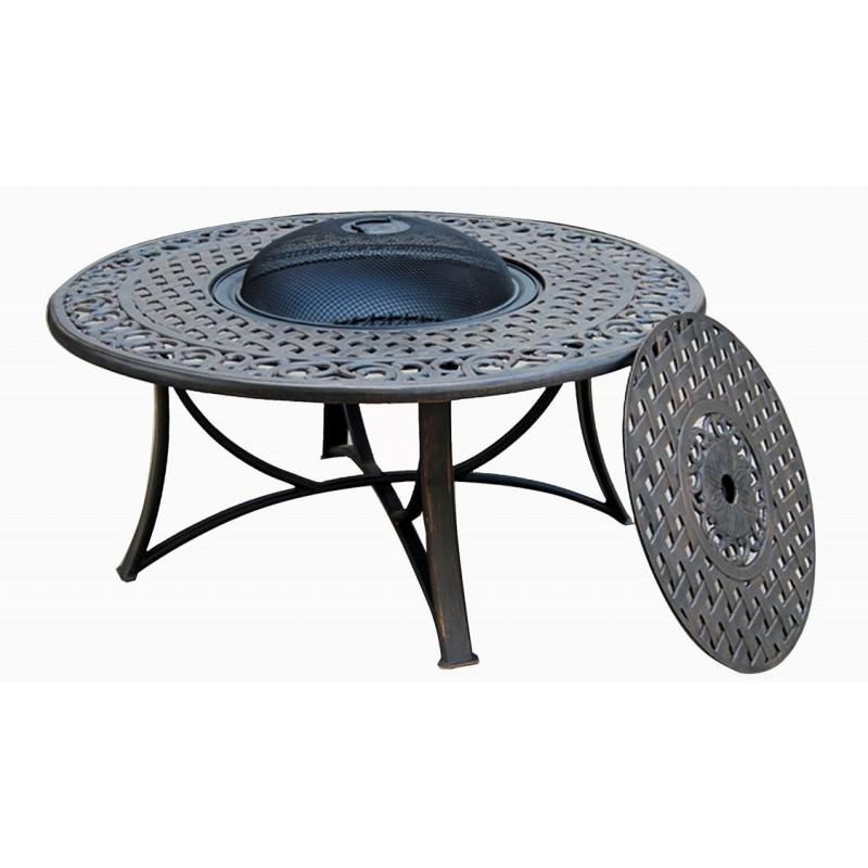 table de jardin basse ronde moorea aspect fer forge noir table de jardin