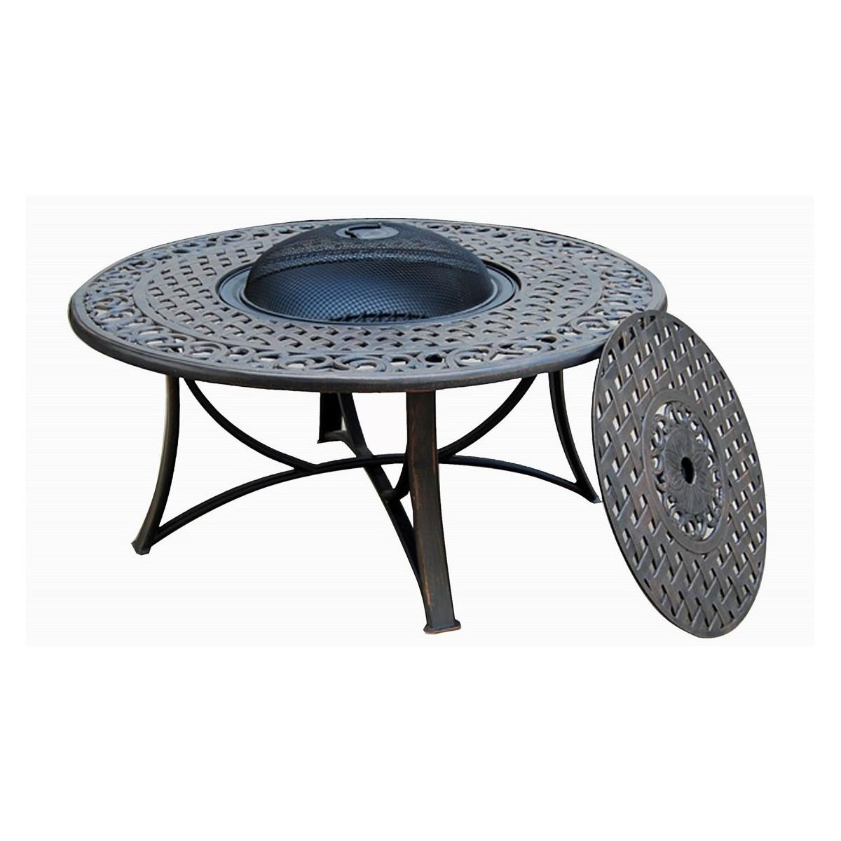 table de jardin basse ronde moorea aspect fer forge noir amp story 4089