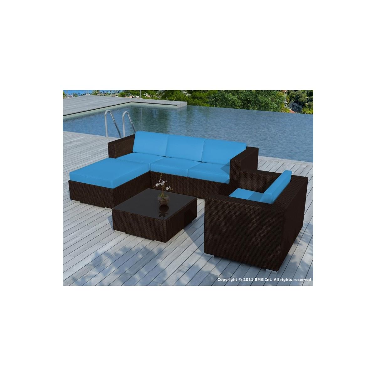 gartenmobel 5 quadrate sevilla harz geflochten braun blau kissen amp story 4116