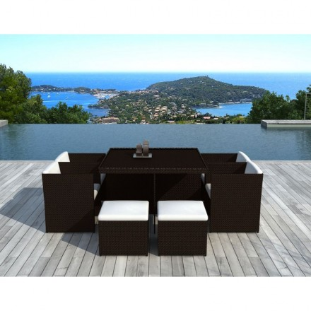 garden room 8 places built in ubeda in woven resin brown white ecru cushions amp story 4142