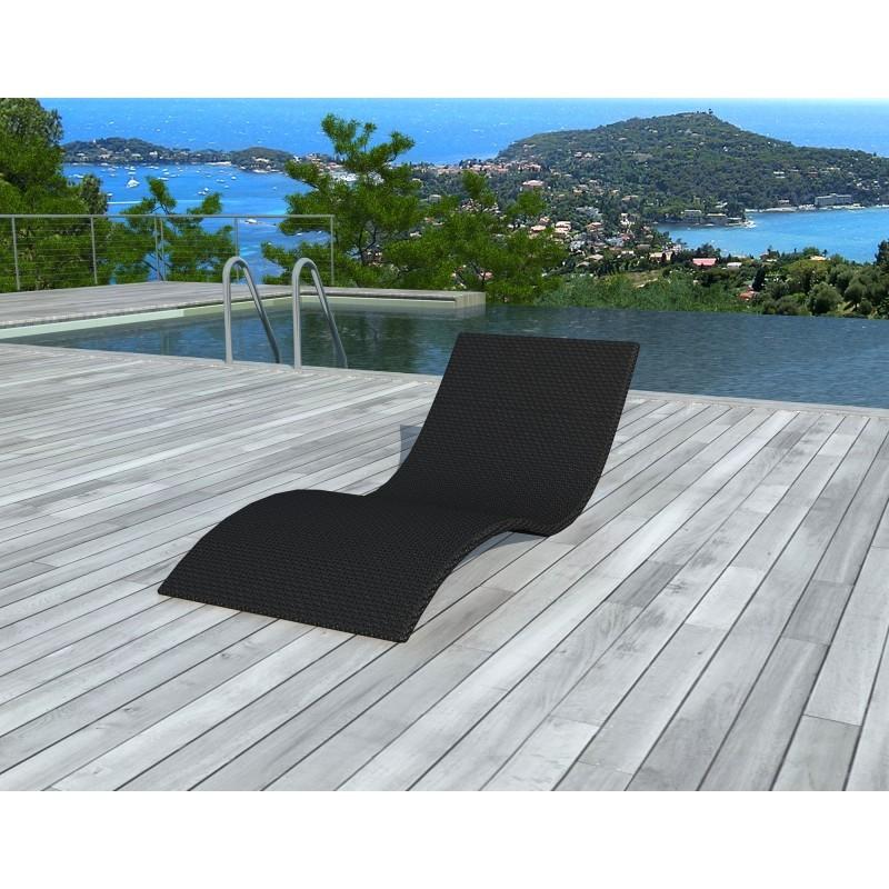 bain de soleil transat girona en resine tressee noir fauteuil de jardin
