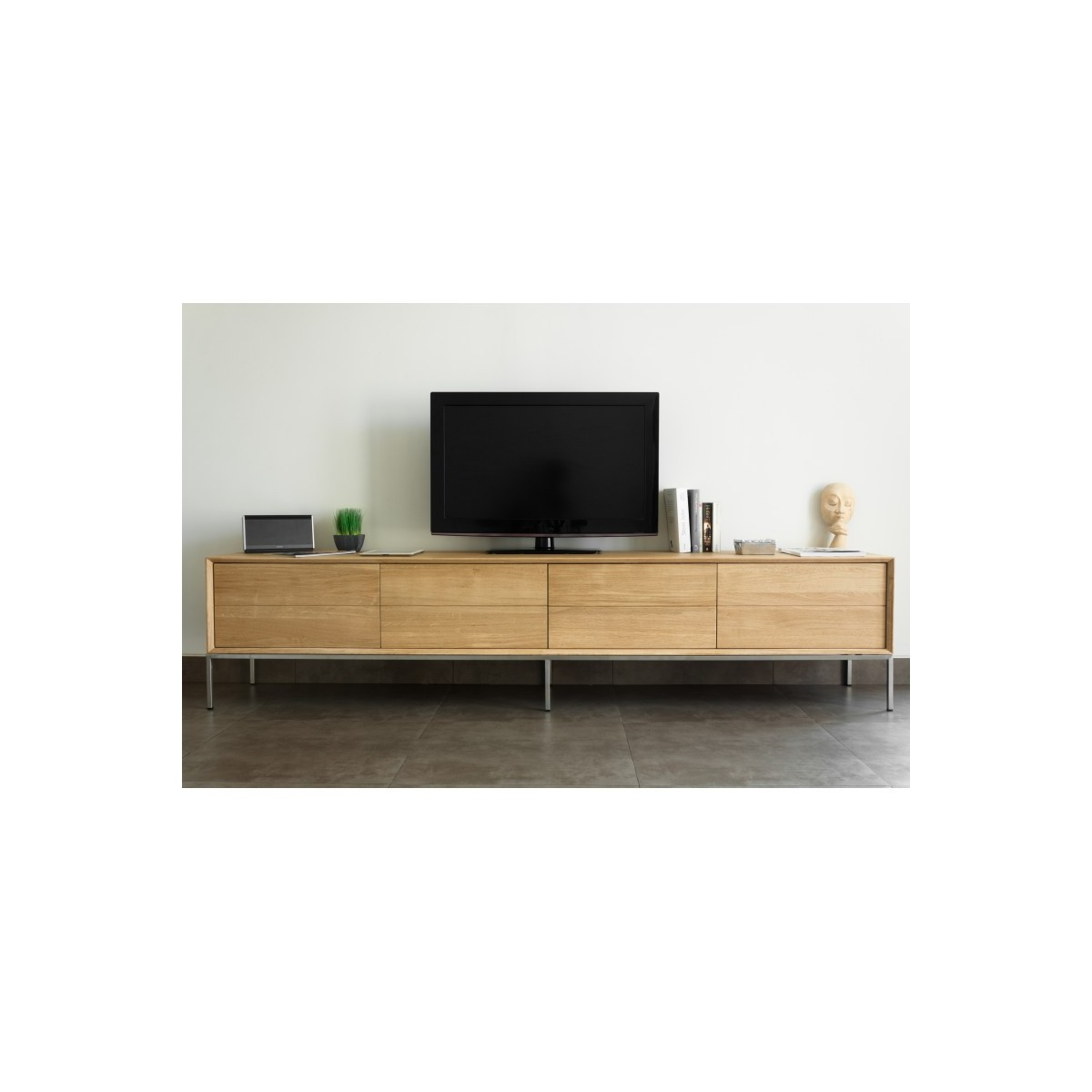 meuble tv bas design 2 tiroirs 2 portes jason en chene massif chene naturel amp story 4220
