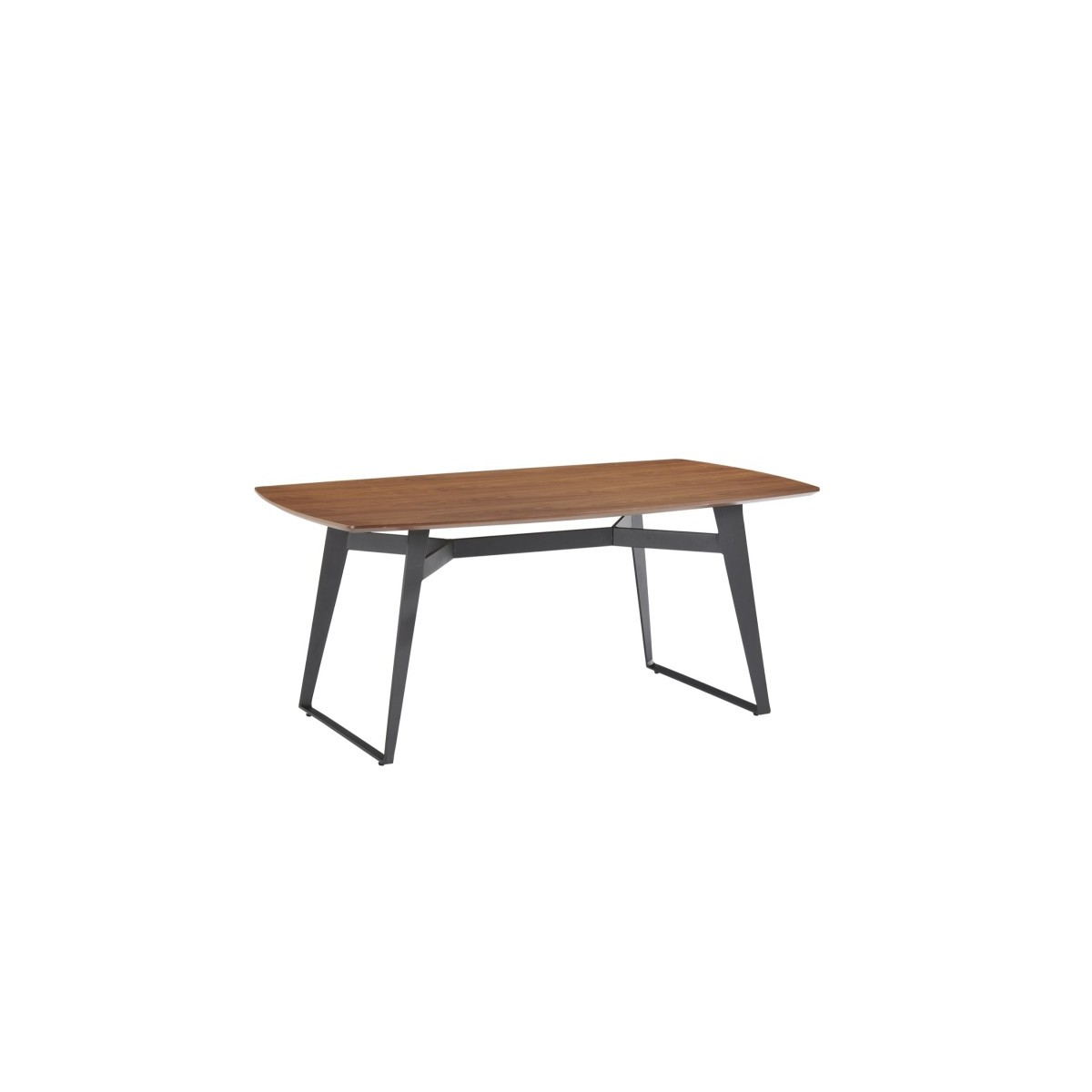 contemporary dining table and vintage mael in wood and metal 180cmx90cmx77 5cm black walnut amp story 4233