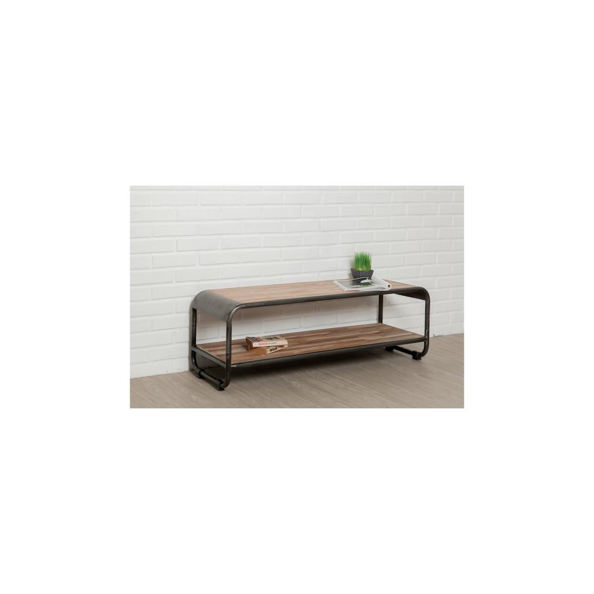 meuble tv bas 2 plateaux industriel 120 cm benoit en teck massif recycle et metal amp story 5407