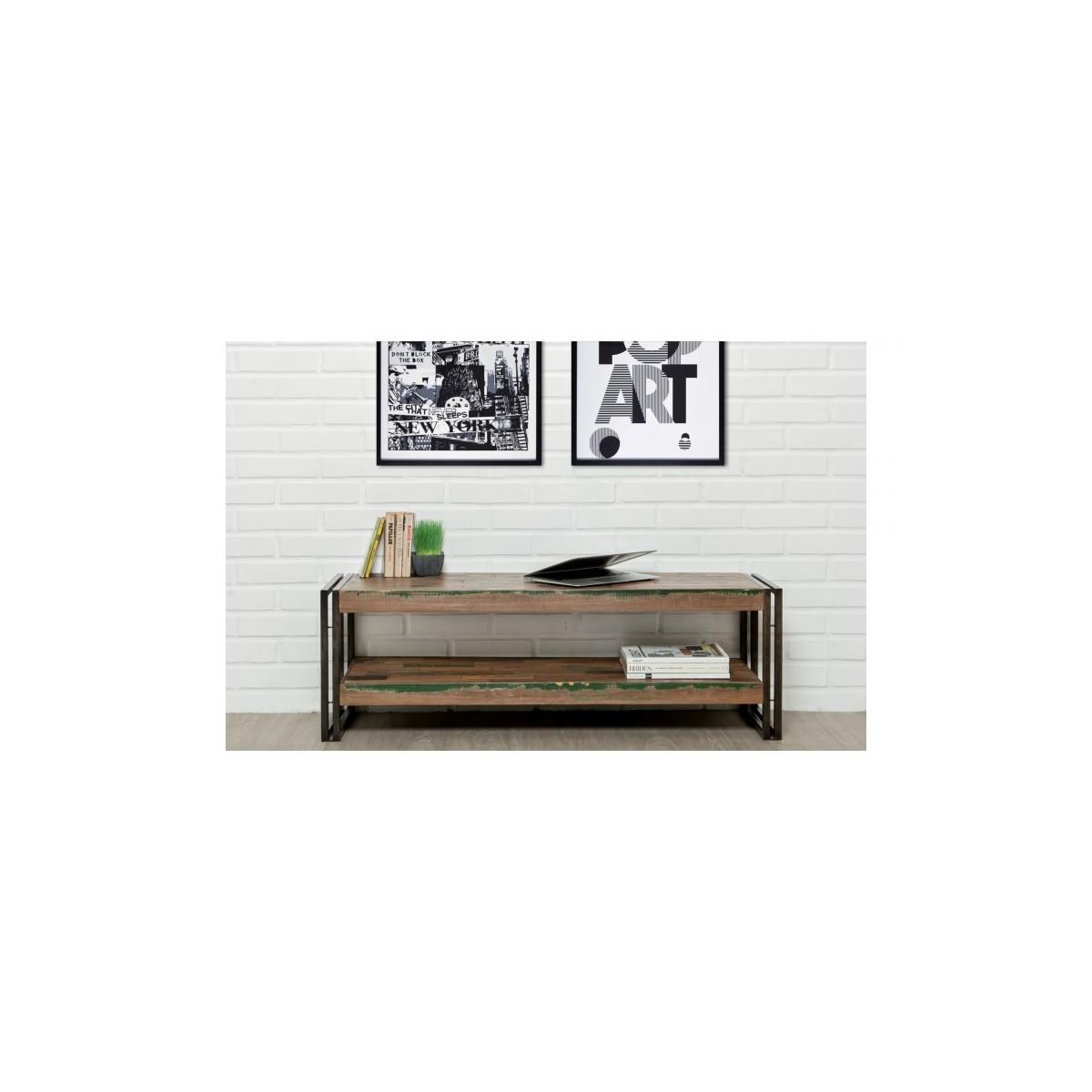 niedrige tv 2 industrielle schalen 120 cm noah massiven teak recycelt und metall stehen amp story 5415
