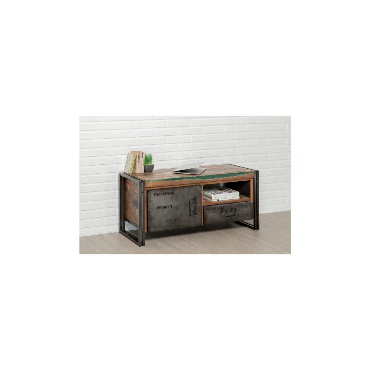 furnished 1 door 1 low tv niche 1 industrial drawer 110 cm noah massive teak recycled and metal amp story 5417