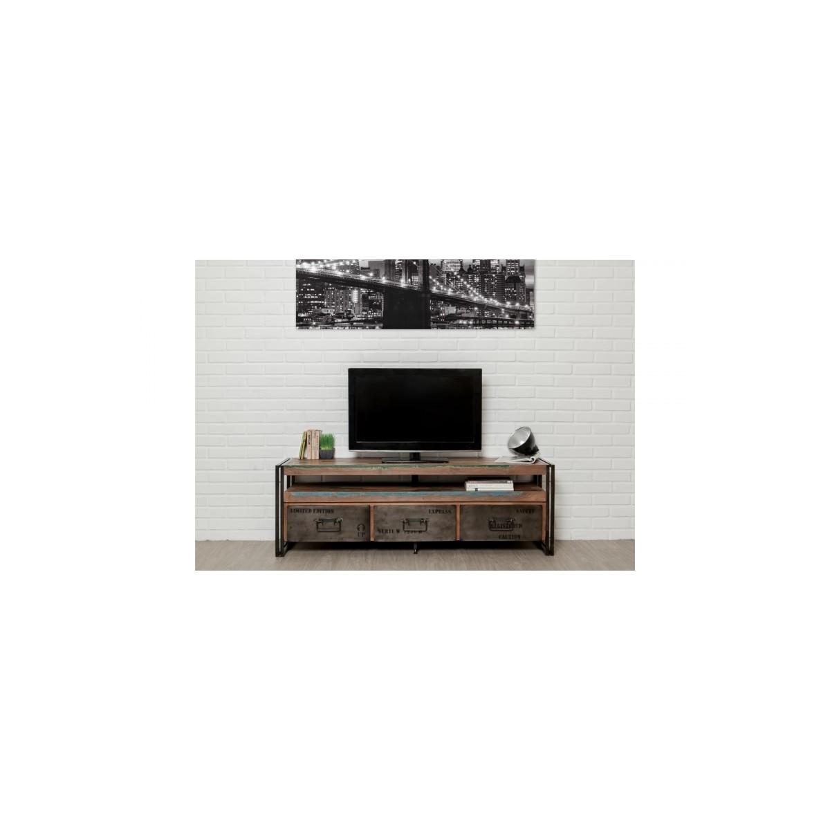 moblierte 3 schubladen 1 niedrige tv nische 160 cm noah massiven teak recycelt industrie und metall amp story 5420