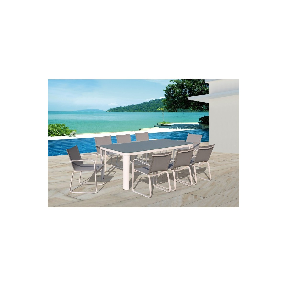 dining table and 8 chairs tasha in textilene and aluminium light gray amp story 5456